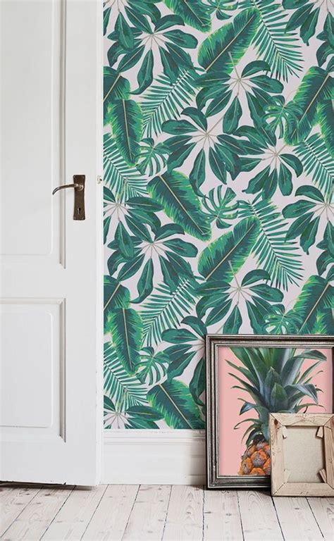 Beautiful Illustrative Wallpapers by Mixed Tropical Leaves Wallpaper Cool Tropical Leaf