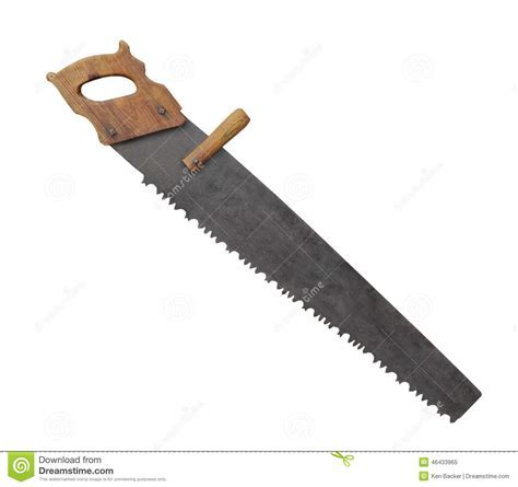 Old log saw isolated. stock image. Image of saws, rough
