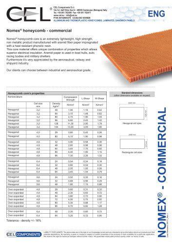 technical datasheet aluminium honeycomb cel components srl  catalogs technical