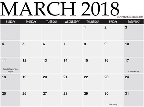 calendar template march 2018 blank march 2018 calendar printable templates