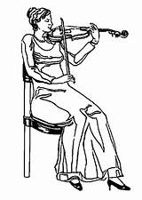 Coloring Violinist Drawing Getdrawings sketch template