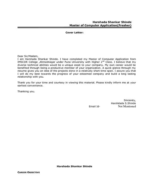cover letter for application email sle for freshers