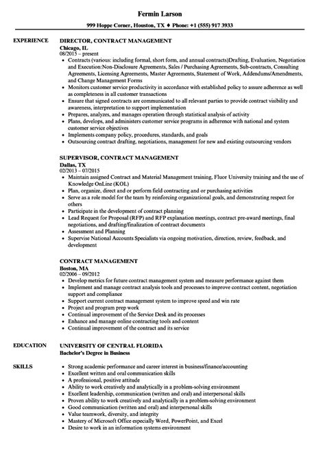 Contract Administrator Cv by Contract Management Resume Sles Velvet