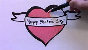 How to Draw a Heart with Ribbon for Mother's Day - YouTube