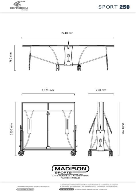 ficha t 233 cnica mesa de ping pong cornilleau mesa 250 s outdoor