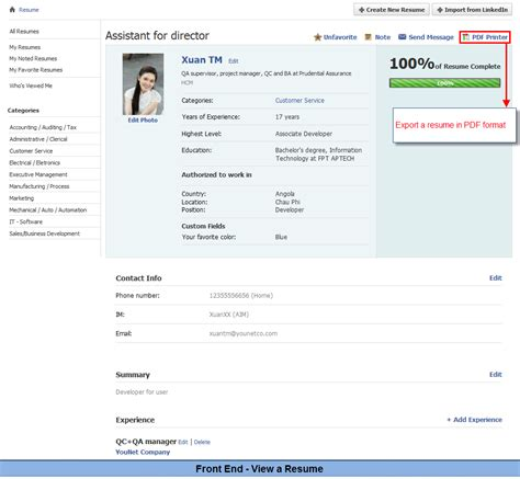 View Resumes On Linkedin by Resume Module Plugin Custom Design For Phpfox Younet