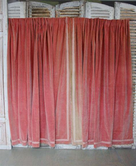 pair of pink velvet drapes with valance at 1stdibs