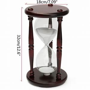 60 Minutes Wood White Sand Glass Hourglass Timer Clock