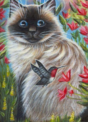 cat  flowers painting ragdoll cat hummingbird