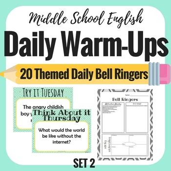 daily bell ringers set  middle school english  weeks