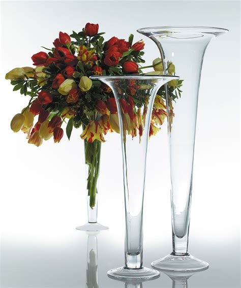 Wide Glass Vases by Glass Trumpet Vase 20 Quot With Wide Wedding Vases