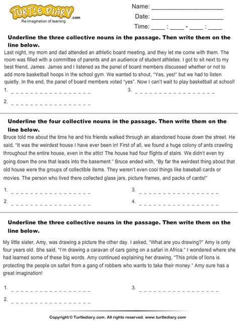 underline  collective nouns worksheet turtle diary