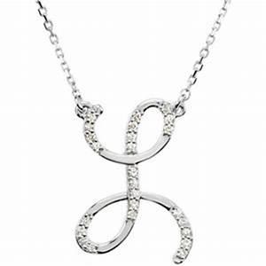 mens necklaces 14kt white gold alphabet initial letter l With letter l diamond necklace