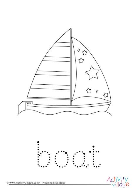 On A Boat Word Trace boat word tracing