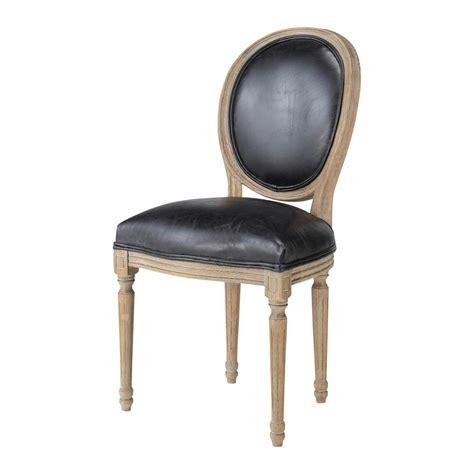 chaise en cuir chaise médaillon en cuir et chêne massif louis