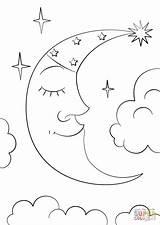 Coloring Moon Crescent Cartoon Printable Drawing Stars Drawings Getcolorings Dot 04kb 1200px Categories sketch template
