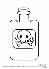 Poison Bottle Colouring Pages Halloween sketch template