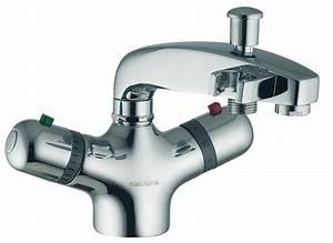 Mitigeur Sur Baignoire : 75 52 mitigeur thermostatique bain douche mono trou nu ~ Edinachiropracticcenter.com Idées de Décoration