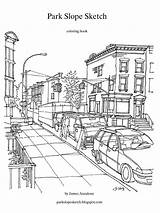 Coloring Park Slope Sketch Market Drawing Line Sketches Reproductions Print sketch template