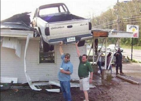 Car Crash On Terrace Funny Image