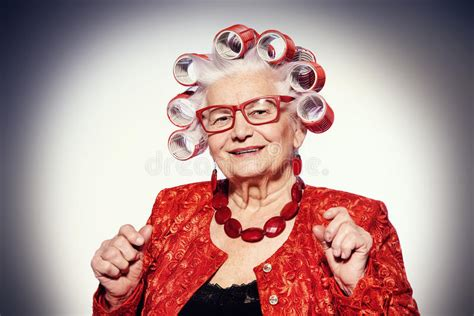 modern grandma stock image image  eyes fashionable