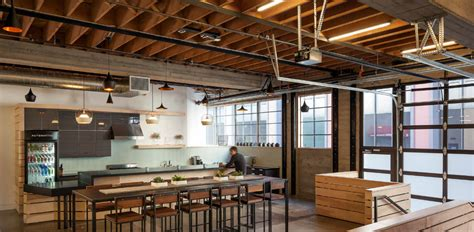 warm industrial kitchen office spaces studios