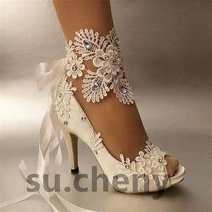3quot 4 Heel White Ivory Satin Lace Ribbon Open Toe Wedding