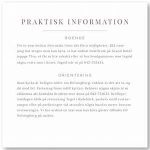 Praktisk information bröllop
