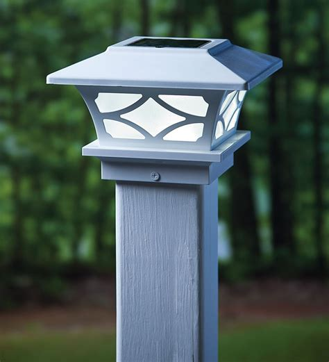 set of 2 architectural solar post cap lights outdoor