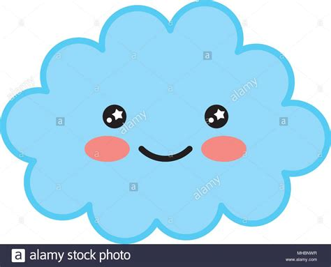 Kawaii Cartoon Happy Cloud Character Vector Illustration