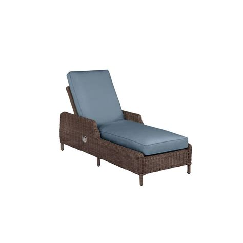 brown vineyard patio chaise lounge with denim