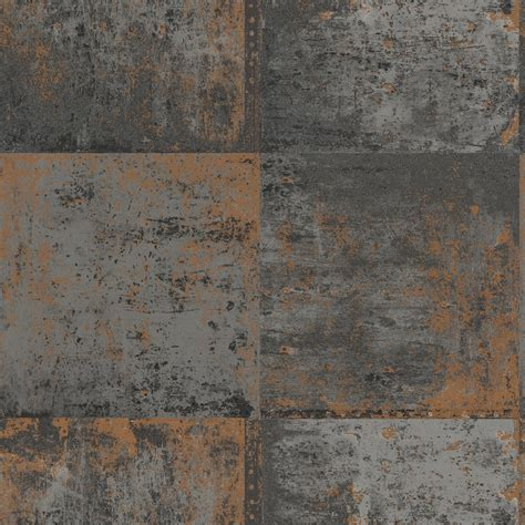 black copper distressed metal panel wallpaper