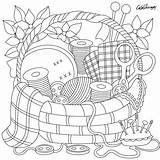 Coloring Pages Sewing Adult Basket Printable Adults Embroidery Drawing Patterns Colouring Crafts Books Gift Mandala Sheets Cute Easter Super Hand sketch template