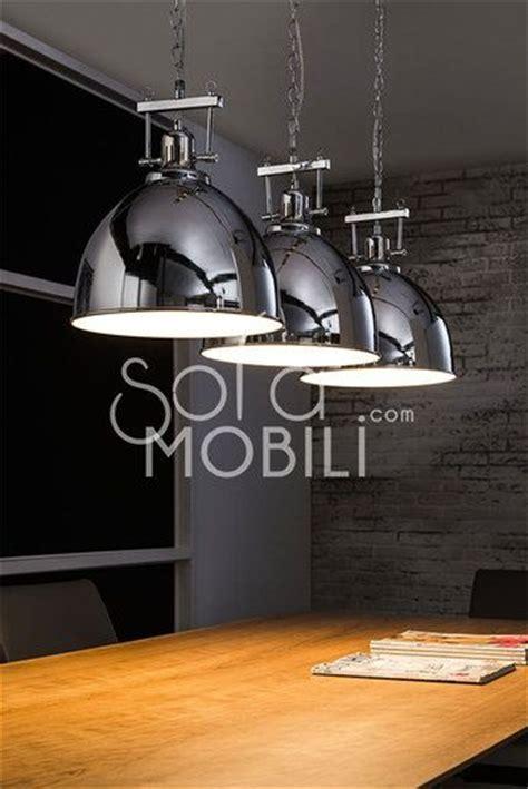 luminaire cuisine design luminaire suspension acier chromé industrielle cuisine