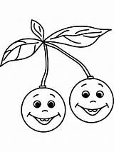 Cherry Coloring Pages Fruits Print Printable Recommended Children Mycoloring sketch template
