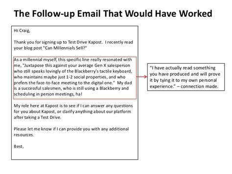 Follow Up Email Sle To Client by Sales Hacker Conference San Francisco Craig Rosenberg