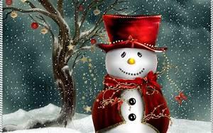 Free Cute Christmas Snowman computer desktop wallpaper