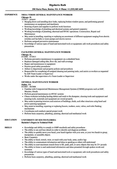 Resume For Maintenance Worker by General Maintenance Worker Resume Sles Velvet