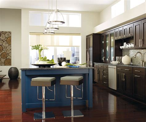kitchen images gallery cabinet pictures omega 592 dark wood cabinets blue kitchen island