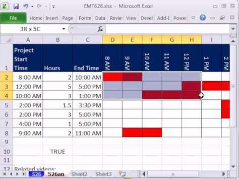 excel magic trick 626 time gantt chart conditional formatting data validation custom