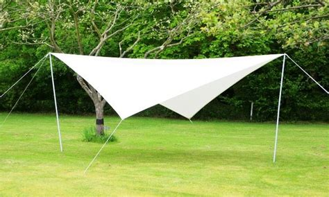 portable ivory sun shade sail kit with poles ropes 3 6m