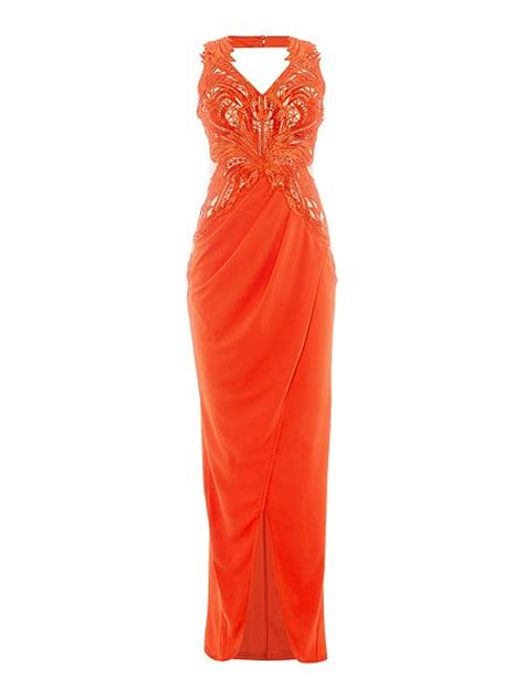 Lipsy Lace Applique Dress by Lipsy Sleeveless V Neck Lace Applique Maxi Dress Coral