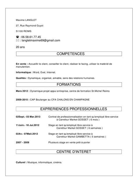 contrat de professionnalisation cuisine cv pour contrat de professionnalisation