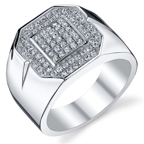 mens bold sterling silver cubic zirconia ring