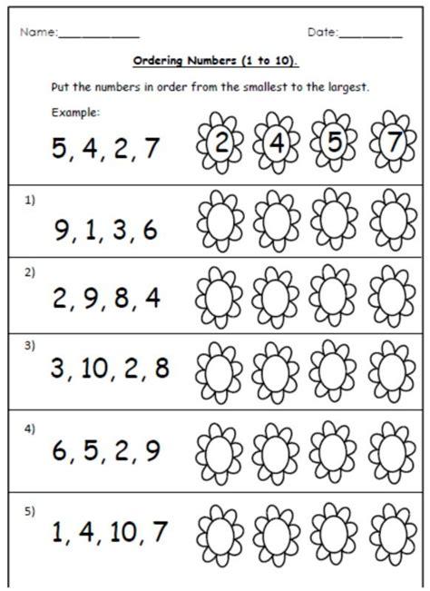 ordering worksheets  number cards   basic