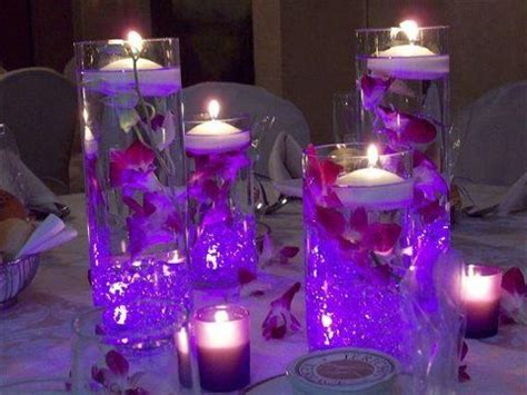 wedding centerpieces with purple submersible led