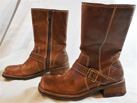 moto style boots skechers distressed brown moto style boots w buckle