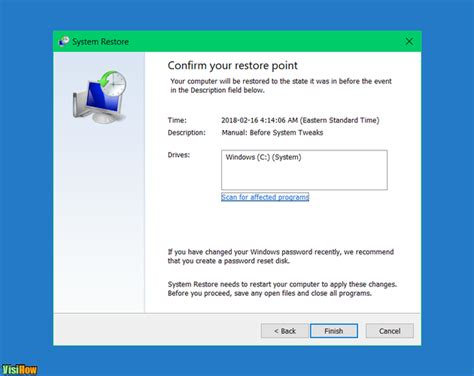 manage system restore in windows 10 visihow