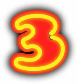 Neon Numerals 3 Clipart
