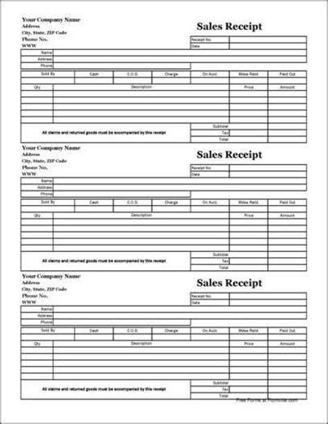 free easy copy three up basic sales receipt wide from